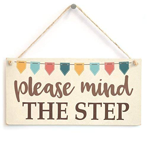 prz0vprz0v Please Mind The Step Bunting Flags Plaque Steps Warning Notice Wall Decorative Sign Door Sign 10