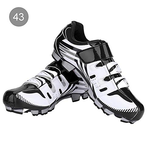 Alomejor 1 Paio Scarpe da Ciclismo Uomo Anti-Scivolo Scarpe da Ciclismo Adulto Scarpe per Mountain Bike MTB(43-White)