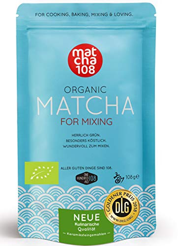 Matcha Pulver Tee 108 - Bio Premium Qualität (für kräftiges Tee-Aroma zum Mixen) - Ideal für Smoothie, Latte, zum Kochen & Backen - Zertifiziertes Grüntee Pulver [108g Premium Grade Green Tea]