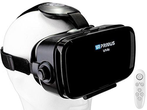 VR Brille VR-Primus VA4s + Fernbedienung für Android Handy \'s | VR-Headset für Smartphone \'s z.B. HTC,Sony,LG,Huawei,iPhone,iOS,Samsung,7,8,9 | Steuerknopf,Controller,3D | Google Cardboard | Schwarz