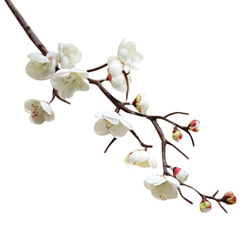 Flores Artificiales, Xinan Artificial Plum Blossom florales boda Bouquet Party Decor (Blanco)
