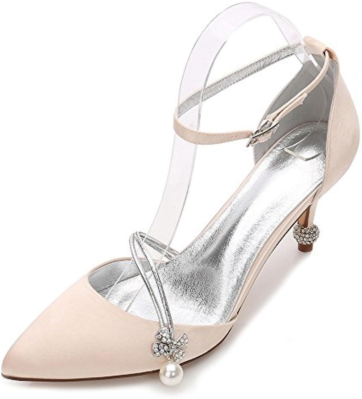 Zxstz Femmes Talons De Mariage De Mariée Prom Pompe Slip sur Toe Fermer Chaussures Classiques Pompe Prom Soirée Chaussures...B07FYFL8QJParent 25875a