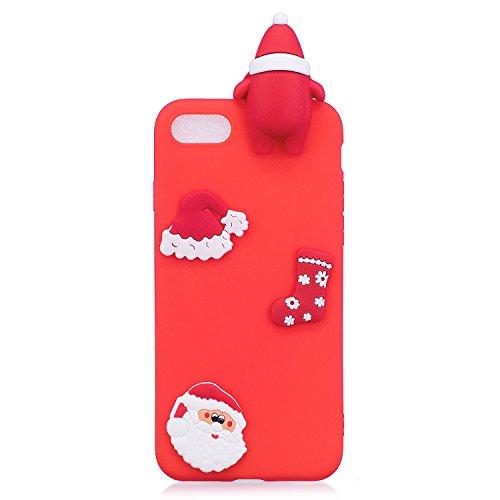 iphone 7 Hülle, iphone 8 Schutzhülle Bär, 3D Weihnachtsmann mit Socken Wünschen und Weihnachtsmütze Muster Design von Hülle für iphone 7 8 (4,7 Zoll), E-lush Ultra Dünn TPU Weich Silikon Hülle Handyco Roter Weihnachtsmann