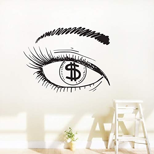 yiyiyaya Dollar In The Eye Wandaufkleber Mädchen Wimpern Make-Up Fenster Aufkleber Dekorative Vinyl Wandtattoos Kunstwand59 * 78 cm (Halloween-wimpern Oben Und Unten)