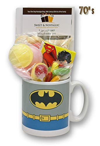 Batman Costume Mug with a Kapow! Selection of 1970's Retro Sweets