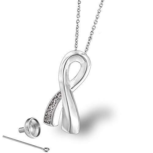rnenanhänger für Asche und Erinnerungsstücke, elegant, mit Edelstahlkette und Zubehör - Silber ()
