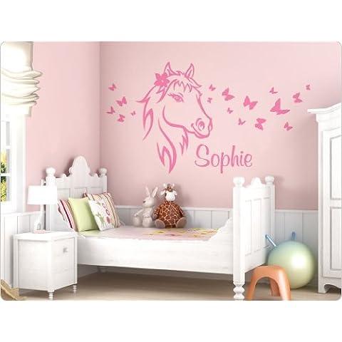 I-love-Wandtattoo11591 Adesivo da parete raffigurante un cavallo e un nome., Argilla marrone, 180 cm x 99 cm