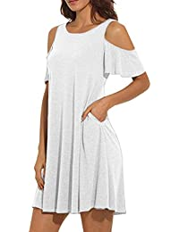 Weant Women Dresses Summer Short Sleeve Cold Shoulder Casual Loose Tunic  T-Shirt Dress with Pockets for Ladies Teen Girls Fashion… 5467338830d6