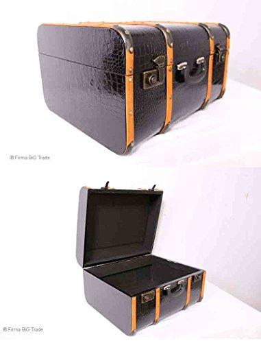 VINTAGE Oldtimerkoffer Koffer Streifenmuster Holzlatten 3 Größen Eisenbeschläge