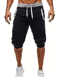 LuckyGirls Hombre Pantalones de Longitud de Becerro Jogging Pants Deportivos  Cintura Elástica (XL 8c8a294b4a3f0