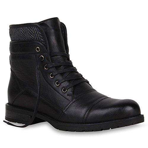 Herren Schuhe Worker Boots Profilsohle mit Blockabsatz Schwarz