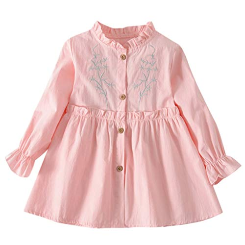 KIMODO Kleinkind Baby Mädchen Kleid Einfarbig Gerüscht Blumen Kleider Bogen Langarm Urlaub Prinzessin Sommerkleid Outfit Kleidung -