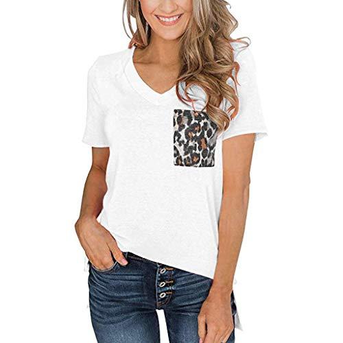 TUBUZ Blusas Mujer Manga Corta Verano Leopardo de La Camiseta del Cuello En V Camisas Camisetas Moda 2019 (Blanco, XXL)