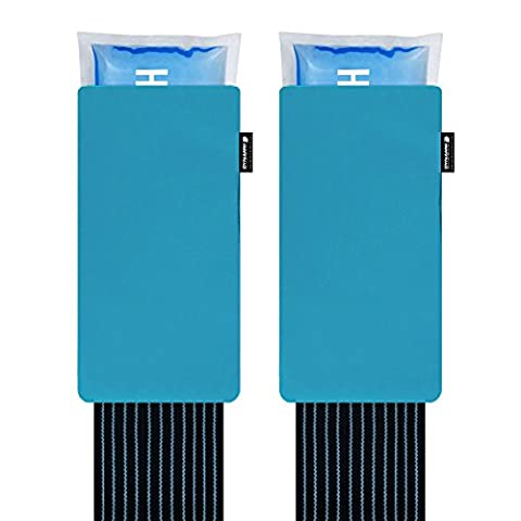 TWINPACK: Large Reusable Hot Cold Pack Ice Gel Heat Pad | Back Knee Shoulder Ankle Injury | Compress Strap Sleeve Wrap