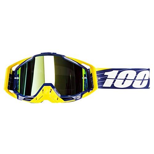 100% Racecraft Navy/Weiß Erwachsene Bibal Brilles w/Gold Spiegel Linse