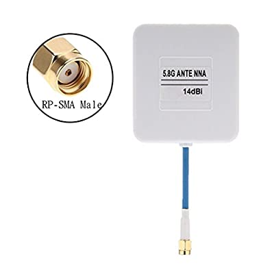 HankerMall FPV Antenna FPV Panel Antenna RP-SMA Male 14dbi High Gain White for Multicopter Drones by by HankerMall