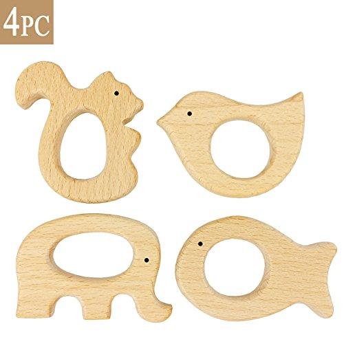 Best for baby 4PC Baby Teether Geschenk Montessori Spielzeug Holz Vogel Elefant Eichhörnchen Fisch Handgefertigt Anhänger
