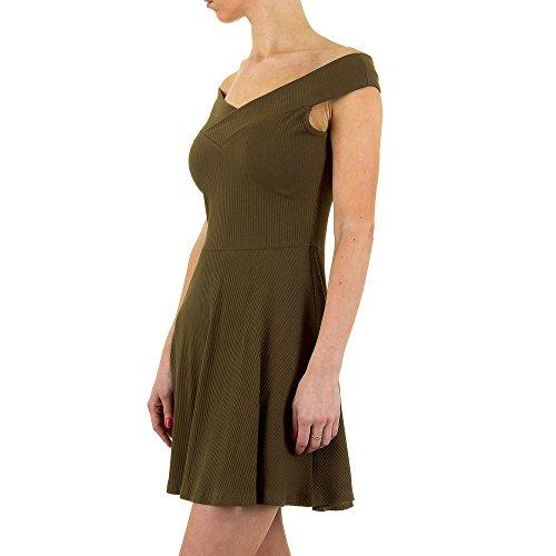 Geripptes Off Shoulder Mini Kleid Für Damen bei Ital-Design Grün 1