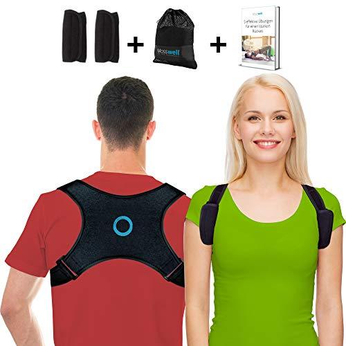 Mosswell® Haltungstrainer verbessert Ihre Körperhaltung. Rückenstabilisator trainiert Schultern und Nacken. Schultergurt inkl. Pads, Tasche, Anleitung zur Haltungskorrektur