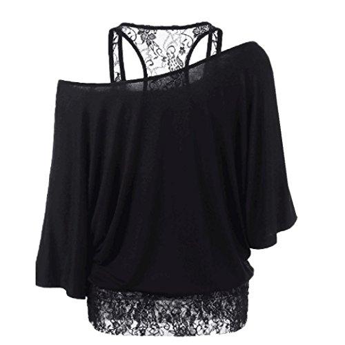 MRULIC Sexy Frauen Spitzenbluse Schulterfrei Langarm-Shirt Top (XL, Schwarz) -