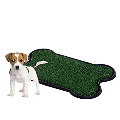 PawHut Indoor Dog Toilet Puppy Cat Pet Training Mat Potty Tray Grass Restroom Portable (bone shaped)