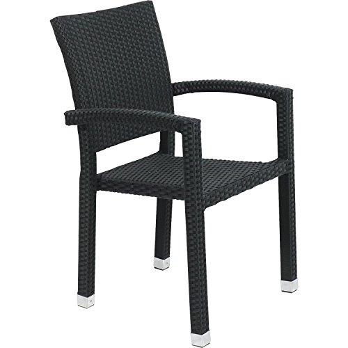 Lesli Living Lot de 4 rotin Chaise de jardin Jazz Armature en aluminium 58 x 60 x91 cm noir