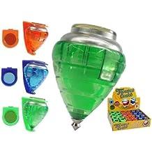 Peonza trompo de plastico con punta metalica en varios colores