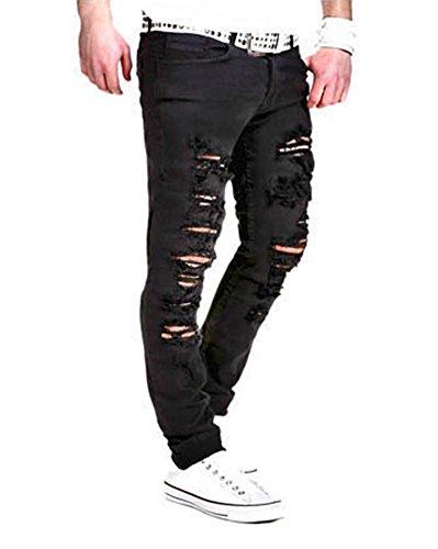 Slim Fit Herren Destroyed Look Stretch Jeans Hose Jeanshose Bikerjeans Schwarz