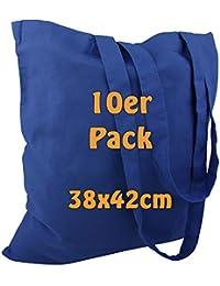 Cottonbagjoe Baumwolltasche Jutebeutel unbedruckt mit Zwei Langen Henkeln 38x42cm (Königsblau, 10 Stück)