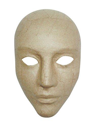 Décopatch AC363O Maske Karneval Integral aus Pappmaché, 11 x 17 x 24 cm, zum Verzieren, Kartonbraun (Pappmaché Maske)