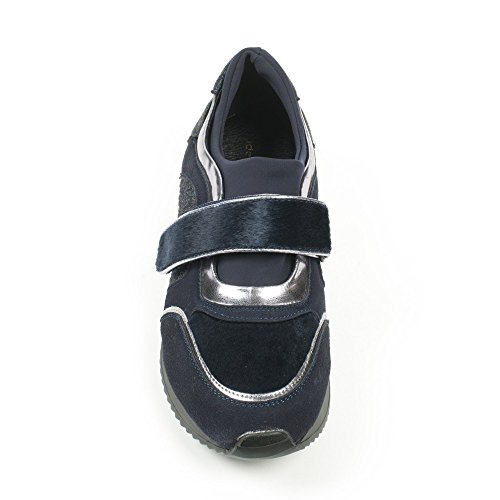Ideal Shoes - Basket multi matières avec scratch Malinia Marine