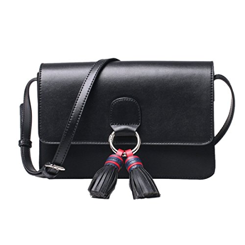 FZHLY Lady Tassel Nylon Buoi Panno Mini Bag,DarkBlueWithRed Black