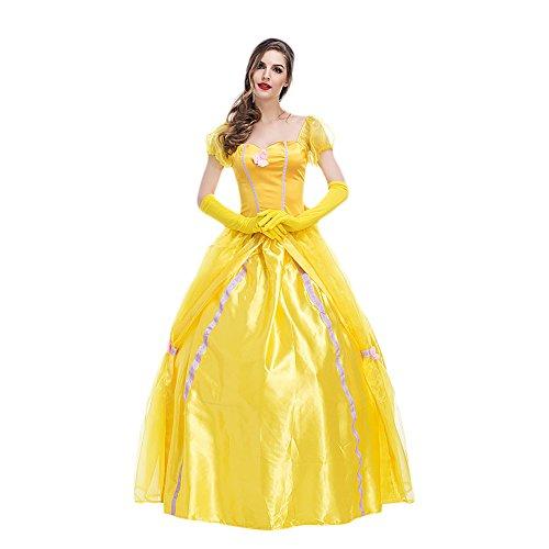 motten Kostüm Belle Märchen Prinzessin Dame Luxus Karneval Damenkostüm Gelb XL ()