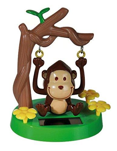 Solar Wackel Figur, Affe auf Schaukel, ideal für die Fensterbank, Auto, Büro, Schreibtisch, einfach süss...! Wichtelgeschenk, Adventskalender, Adventskalenderbefüllung (Affe) (Figur Frosch-sammler)