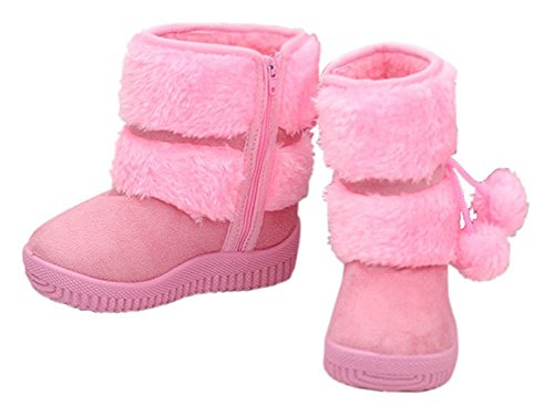 Oderola Enfant Bottes de Neige Hiver Fille Bébé Bottes d'hiver Fourrure Chaudes Antidérapant Sole souple pink