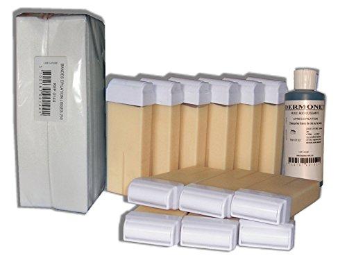 Storepil - Réassortiment de cire à épiler 12 recharges + 250 bandes + huile - Nacrée blanche pour épilation