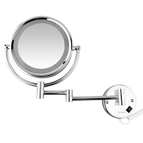 Finether beleuchteter Kosmetikspiegel SchminkspiegelRasierspiegel mit Wandhalterung und LED Beleuchtung Vergrößerungsspiegel Make-upSpiegel mit Licht beleuchtet für Bad Wandmontage 360°drehbar doppelseitig 7-fach Vergrößerung + normal - Wand Make-up-spiegel Beleuchtete