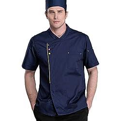 Dooxii Unisexo Hombre Mujeres Verano Manga Corta Camisa de Cocinero Transpirable Chaquetas de Chef Uniforme Cocina Restaurante Occidental Azul Oscuro 2XL