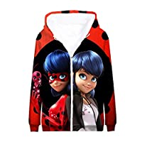 BSHDUFN Miraculous Ladybug Sweatshirts Parent-Child wear Outerwear Anime Long Sleeve Printed Hooded Cardigan Zipper Coat Miraculous Ladybug Coats (Color : A05, Size : 170)