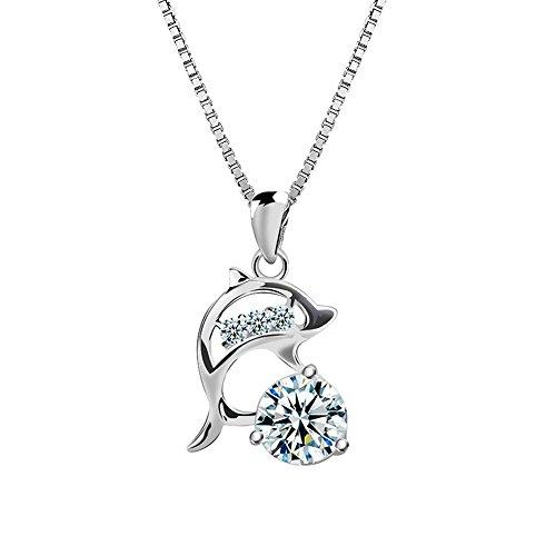 Lanmpu collana da donna con a forma di delfino pendente cristalli con catena 18 pollici