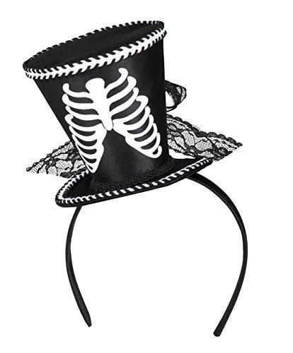 Halloweenia - Halloween Kostüm Accessoire Haarreif Skelett Hut Erwachsenen Kopfbedeckung , Mehrfarbig (Flamme Hut Kostüm)