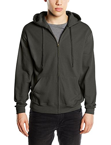 Fruit of the Loom Zip Hooded Sweatshirt-cappuccio Uomo    Grey (Charcoal) X-Large
