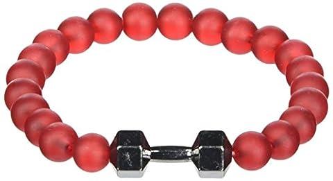 GOOD.designs Fitness Bead Bracelet made of natural red glass stone, dumbbell pendant in black (Black)