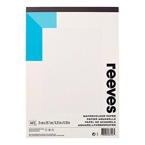 Reeves 8490947 Aquarellblock - geleimt, Aquarellpapier 12 Blatt, 190g/m², säurefrei, lichtbeständig & alterungsbeständig - A4