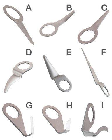Preisvergleich Produktbild T4W Schneidmesser gebogen D 30 mm KFZ Scheiben Ersatzmesser für Druckluft Ausglaser (59396)
