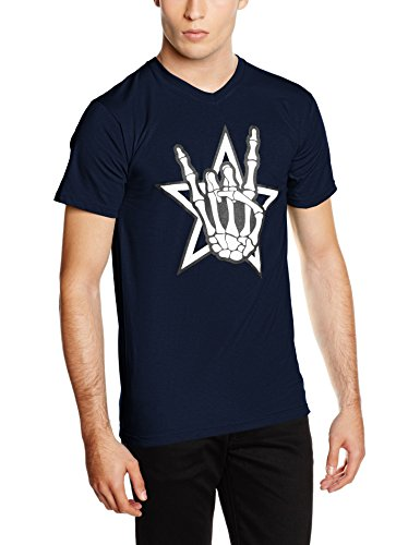 3e7d6c03aade6 Touchlines Death Metal Headbänger - Camiseta Hombre, Azul (Navy 18), Small