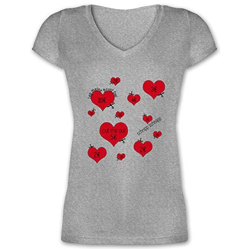 JGA Junggesellinnenabschied - Herzen ausschneiden JGA - XS - Grau meliert - XO1525 - Damen T-Shirt mit V-Ausschnitt