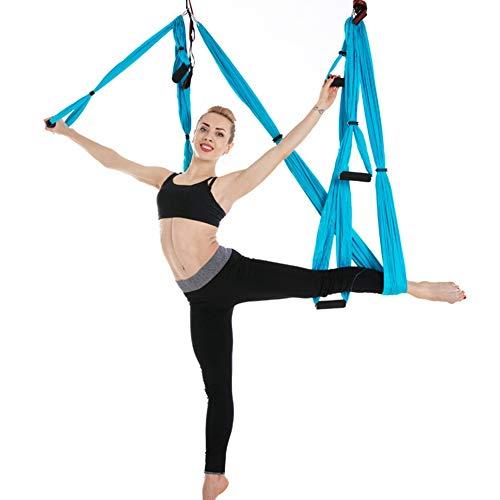 Anti-Schwerkraft-Lufthängematten-Yoga Pilates-Eignungs-hängende Bügel, die Umstellungs-Schwingen-Riemen-Hängematte für Zuhause draußen fliegen(Himmelblau)