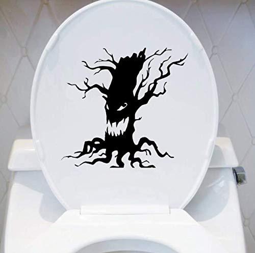 Spooky Tree Vinyl Wandaufkleber Halloween Scary Tree Gesicht Wc Aufkleber Wohnkultur 18 * 17 Cm (Family Halloween Tree)