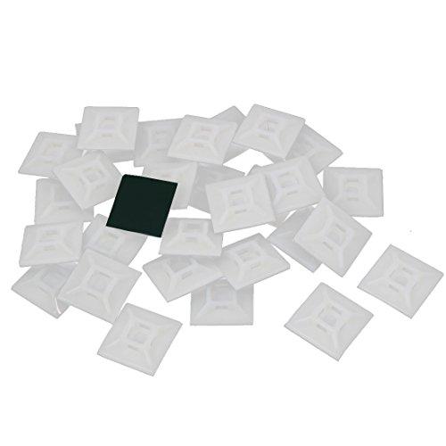 Galleria fotografica sourcingmap Quadrati in plastica fascetta fissaggio cablaggio cavo autoadesivo basi tipo 30 pz